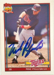 Mike Pagliarulo Autographed 1991 Topps Traded #87T