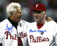 Dallas Green & Charlie Manuel Autographed Phillies 8 x 10  Photo
