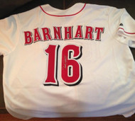 Tucker Barnhart Autographed Cincinnati Reds Majestic Jersey Absolutely Beautiful