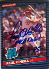 Paul O'Neill Autographed 1986 Donruss #37 MLB Debut 9-3-85