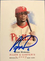Ryan Howard Autographed 2007 Topps Allen & Ginter #1
