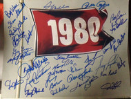 1980 Phillies World Series Flag 11 x 14 signed by 30 players All Possible Living except Mike Schmidt