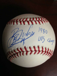 Bob Walk Autographed ROMLB Baseball 1980 W.S. Champs