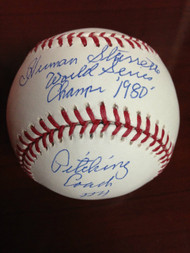 Herm Starrette Autographed ROMLB Baseball 1980 World Series Champs