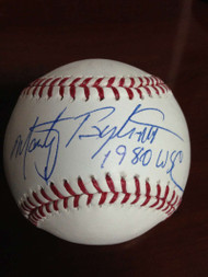Marty Bystrom Autographed ROMLB Baseball 1980 World Series Champs