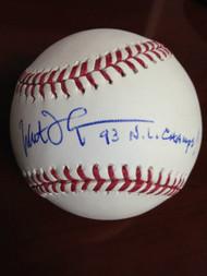 Milt Thompson Autographed ROMLB Baseball 93 NL Champs