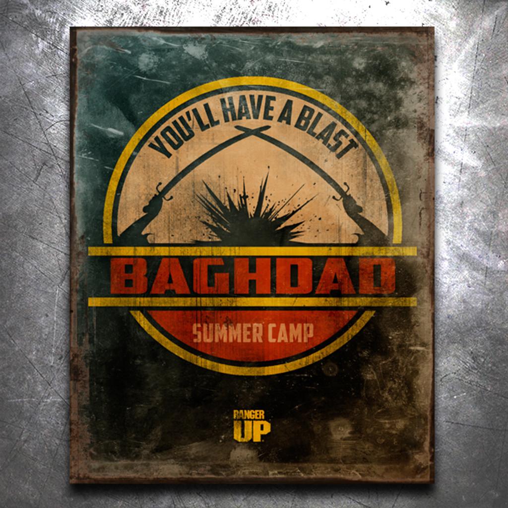 Baghdad Summer Camp Vintage Tin Sign