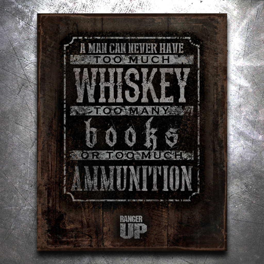 Books, Whiskey, Ammo Vintage Tin Sign