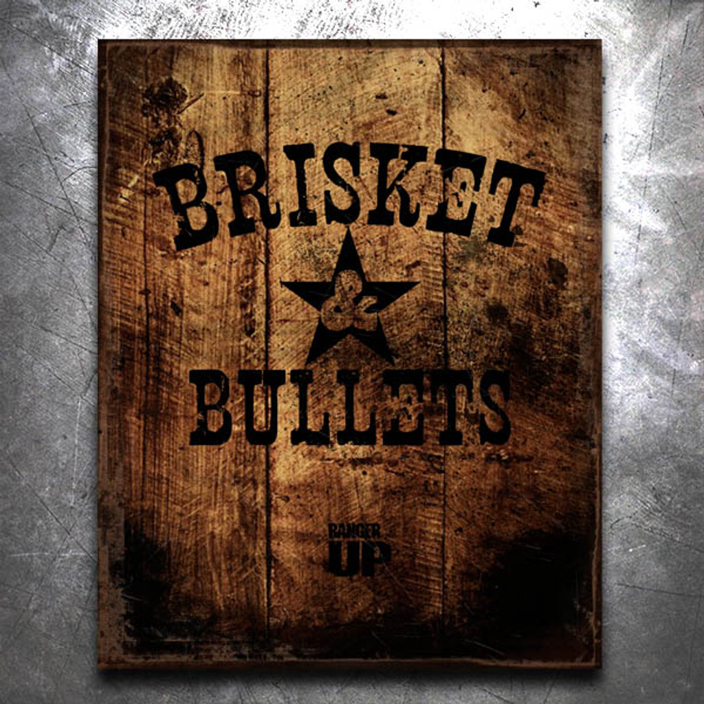 Brisket and Bullets Old World Tin Sign