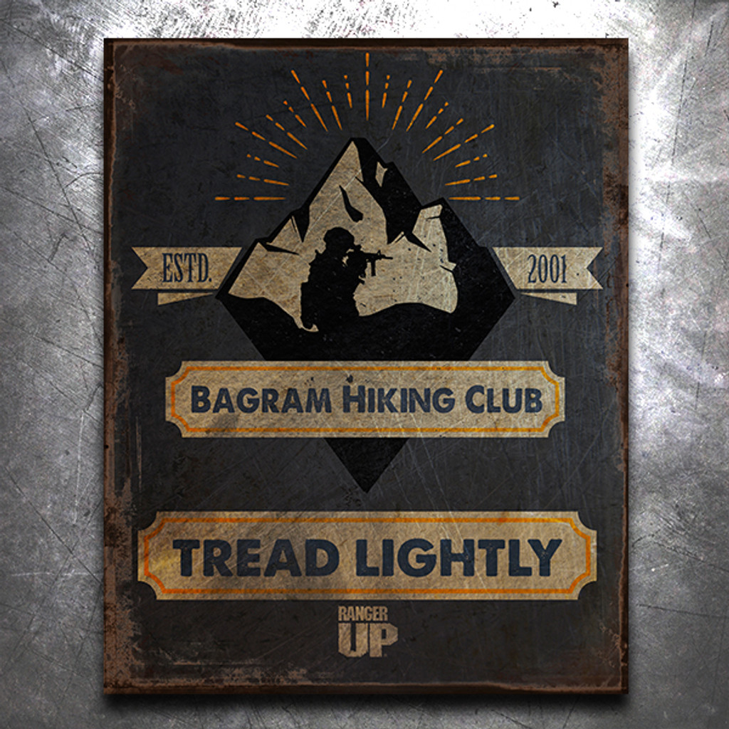 Bagram Hiking Club Vintage Tin Sign
