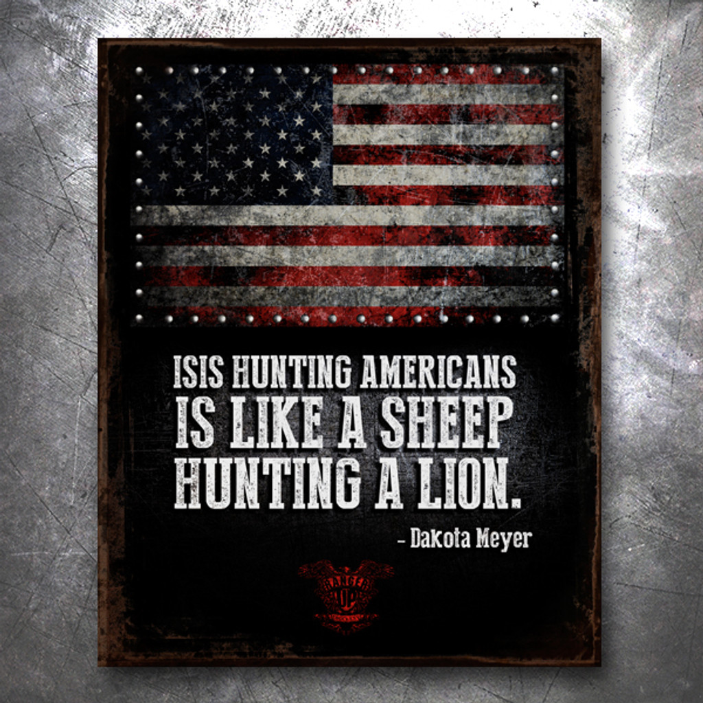 Never Outgunned: ISIS Hunting Vintage Tin Sign
