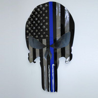 American Liquid Metal Thin Blue Skull Sign