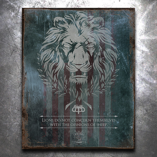 Live as a Lion Vintage Tin Sign