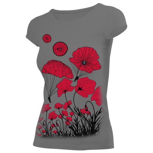 Women's Paratrooper Poppy Field Memorial T-Shirt