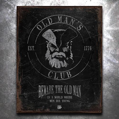 Old Man's Club Vintage Tin Sign