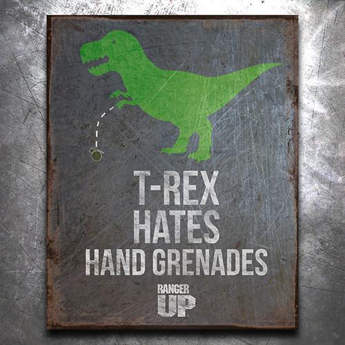 T-Rex Hates Hand Grenades Vintage Tin Sign
