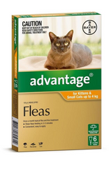 Advantage Flea Treatment For Cats under 4kg, 6 pack (6 monthly treatments)