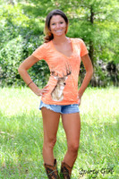 Neon Orange v-neck burnout deer head shirt