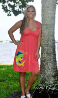 Coral strapped fishing dolphin dress