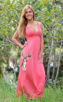 CORAL maxi deer hunting dress