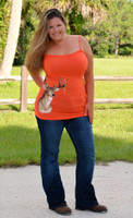 Womens Orange deer head hunting tank top