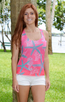 Starfish Seahorse and Coral tank top