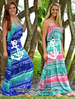 Beautiful tie dye maxi sporty girl anchor dress MEDIUM BLUE LEFT ONLY