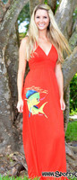 RED Dolphin mahi-mahi fishing maxi dress