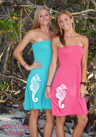 ONESIZE fits some tube top coral and mint seahorse dress