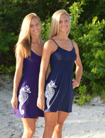 ONESIZE fits some strap navy and purple seahorse dress