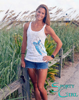 Seaturtle white burnout tank top