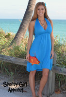 only large left Blue Halter Hogfish Dress