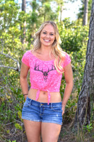 Neon Pink Deer Skull tie up CROP TOP