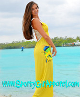 Yellow Elegant maxi long dolphin fishing dress