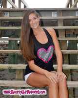 Crystal and glitter heart hook design tank top