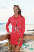 Coral Starfish Turtle neck sweater dress