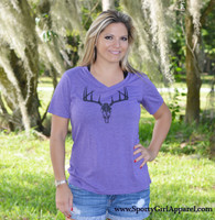Women's Purple Deer Skull Shirt