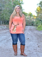 Light Orange Spaghetti Strap Deer Head Tank Top