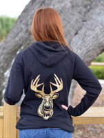 Longer length black sweater with gold glitter buck