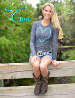 Gray long sleeve heart hook thermal top