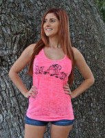 Neon Pink Burnout tank top with hog dog design