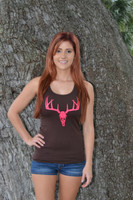 ONESIZE DEER SKULL TOP -Black or Brown-