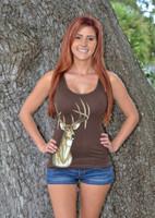 ONESIZE brown shaded deer head tank top