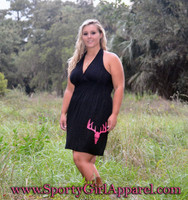 Plus Size Hunting Dress With Neon Pink Deer Skull