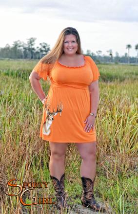 Plus size women's Orange country deer head big buck dress