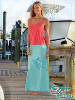 Sea Turtle Mint Maxi Skirt