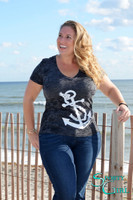 Womens Black V-Neck Anchor Burnout Shirt