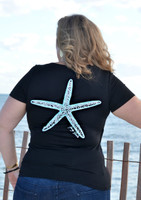 Women's Black Plus size Starfish nautical fishing top