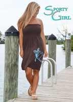 One Size Fits Some Strapless Brown Nautical Sea Turtle Dress