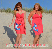 LARGE ONLY Coral Halter Marlin Dress 50% OFF